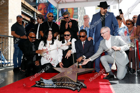 Officials, US rapper Xzibit (2-L), US Comedian George Lopez (4-L), Cypress Hill group members, Sen Dog (L), B Real (C-L), Eric 'Bobo' Correa (C-R) and DJ Muggs (3-R) unveil Cypress Hill's Star on the Hollywood Walk of Fame in Hollywood, California, USA, 18 April 2019. Cypress Hill is the first Latino American Hip Hop group to be honored with a star. The 2,660th star was dedicated in the Category of Recording.
