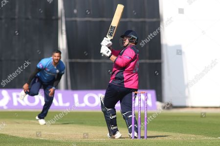Richard Levi of Northamptonshire pulls Ravi Rampaul of Derbyshire for four during the Royal London 1 Day Cup match between Derbyshire County Cricket Club and Northamptonshire County Cricket Club at the 3aaa County Ground, Derby