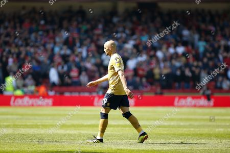 Yohan Benalouane of Nottingham Forest leaves the pitch after being shown a red card during the EFL Sky Bet Championship match between Sheffield United and Nottingham Forest at Bramall Lane, Sheffield