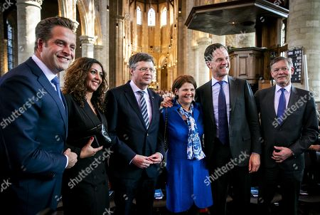 (L-R) Dutch Health Minister Hugo de Jonge, former prime minister Jan-Peter Balkenende, Delft Mayor Marja van Bijsterveldt, and Dutch Prime Minister Mark Rutte attend the performance of the Matthaus Passion in the Nieuwe Kerk (New Church) in Delft, The Netherlands, 19 April 2019. The oratory of Bach is traditionally performed on Good Friday every year.