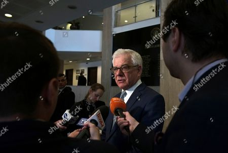 Polish Foreign Minister Jacek Czaputowicz speaks to the media after a meeting of political-military consultations between the NATO countries with Turkish Foreign Minister Mevlut Cavusoglu and Romanian Foreign Minister Teodor Melescanu, in Ankara, Turkey