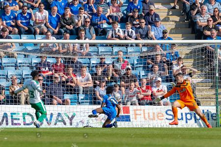 Gillingham FC midfielder Regan Charles-Cook (11) scores a goal (1-1) during the EFL Sky Bet League 1 match between Gillingham and Plymouth Argyle at the MEMS Priestfield Stadium, Gillingham