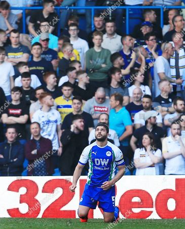 Sam Morsy of Wigan Athletic celebrates his teams equalising goal 1-1
