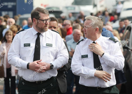 Deputy Chief Constable Stephen Martin and District Commander Superintendent Alan Hutton. Community vigil held on Fanad Drive, Creggan.