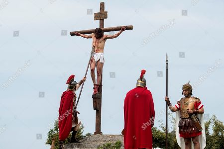 Spanish Christians re-enact the crucifixion of Jesus Christ during the Good Friday in Castro Urdiales village, Cantabria, northern Spain, 19 April 2019. The Good Friday is one of the highest religious holidays observed by Christians all over the world, commemorating the crucifixion of Jesus Christ and his death at Golgotha, a central event in Christian theology.