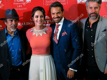 "Actors, from left, Damian Alcazar, Barbara Mori, Eugenio Derbez and Moises Arizmendi pose on the red carpet promoting their Mexican film ""El Complot Mongol"" in Mexico City. The film about Mexican, Russian and American spies in Mexico City in 1963 premiered on April 18"