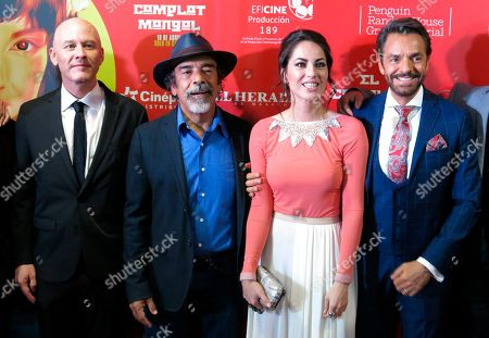 "Actors, from left, Ari Brickman, Damian Alcazar, Barbara Mori and Eugenio Derbez pose on the red carpet promoting their Mexican film ""El Complot Mongol"" in Mexico City. The film about Mexican, Russian and American spies in Mexico City in 1963 premiered on April 18"