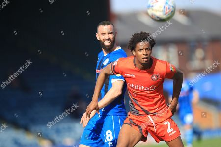 Aaron Wilbraham and Sido Jombati during the EFL Sky Bet League 1 match between Rochdale and Wycombe Wanderers at Spotland, Rochdale