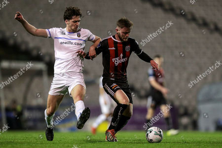 Bohemians vs UCD. Bohemians' Conor Levingston and Richie O'Farrell of UCD