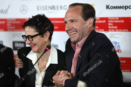 Ralph Fiennes (R) and producer Gabrielle Tana (L) attend a news conference on his movie 'The White Crow' during the the 41st Moscow International Film Festival (MIFF-2019) in Moscow, Russia, 19 April 2019. The 41st Moscow International Film Festival takes place from 18 to 25 April.