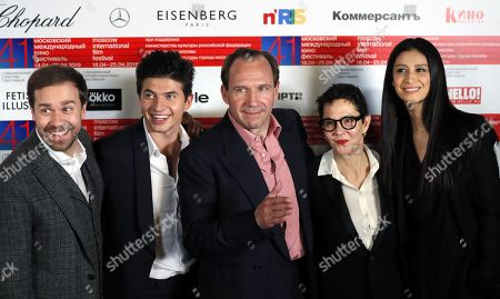 Stock Photo of Russian Actors Alexey Morozov (L), Oleg Ivenko (2-L), Ravshana Kurkova (R), British actor and film director Ralph Fiennes (C) and producer Gabrielle Tana (2-R) attend a news conference on his movie 'The White Crow' during the the 41st Moscow International Film Festival (MIFF-2019) in Moscow, Russia, 19 April 2019 (issued 20 April 2019). The 41st Moscow International Film Festival takes place from 18 to 25 April .