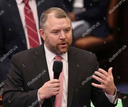 Sen. Rob Bradley, R-Fleming Island, debates on a bill to allow teachers to be armed during session, in Tallahassee, Fla