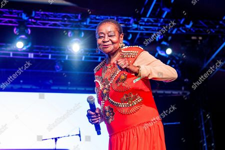 Calypso Rose performs at the Coachella Music & Arts Festival at the Empire Polo Club, in Indio, Calif
