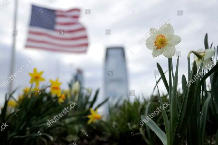 Flowers sway in light breeze with a United States flag flying half-staff at Liberty State Park, in Jersey City, N.J. New Jersey Governor Phil Murphy ordered U.S. and New Jersey flags to fly at half-staff on Tuesday to honor the life of U.S. Army Specialist Nicholas DiMona III, of Medford Lakes, N.J., who died in a March 30 military exercise in Alaska. Flags will continue to fly low on Wednesday, after a Murphy order to honor former Senate Minority Leader Thomas Gagliano, who died on April 13