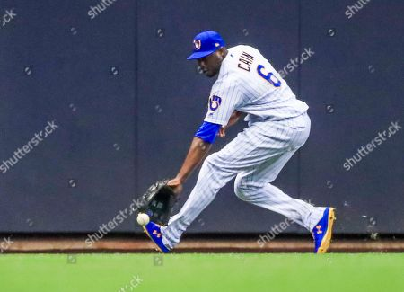 Milwaukee Brewers center fielder Lorenzo Cain chases down a ball hit for an RBI double by Los Angeles Dodgers Right fielder Alex Verdugo in the second inning of the MLB game between the Los Angeles Dodgers and the Milwaukee Brewers at Miller Park in Milwaukee, Wisconsin, USA, 19 April 2019.