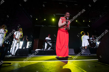 Calypso Rose (C) performs on stage during the Coachella Valley Music and Arts Festival in Indio, near Palm Spring, California, USA, 19 April 2019. The festival will run from 12 April to 21 April 2019.