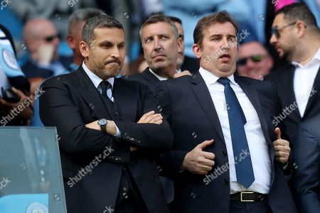 Manchester City Chairman Khaldoon Al Mubarak and CEO Ferran Soriano in the stands before