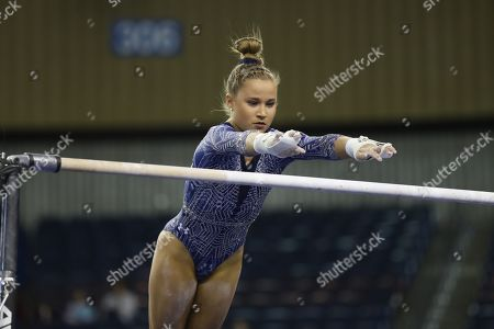 Stock Photo of UCLA gymnast MADISON KOCIAN competes during the NCAA Women's Gymnastics Championships Semi-Final 1 at the Fort Worth Convention Center in Fort Worth, TX. Melissa J