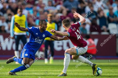 Declan Rice (West Ham) with the ball from Ricardo Pereira (Leicester City) during the Premier League match between West Ham United and Leicester City at the London Stadium, London