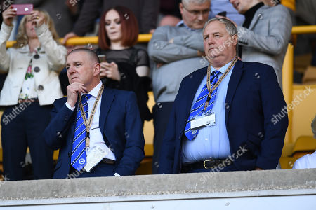 Paul Barber chief executive of Brighton & Hove Albion (l) looks on prior to kick off.