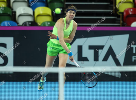 Galina Voskoboeva (KAZ) practices before the Fed Cup World Group II Play-Off match against Great Britain