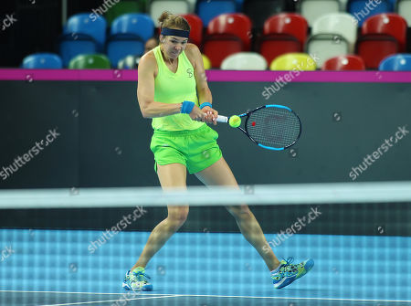 Stock Photo of Galina Voskoboeva (KAZ) practices before the Fed Cup World Group II Play-Off match against Great Britain