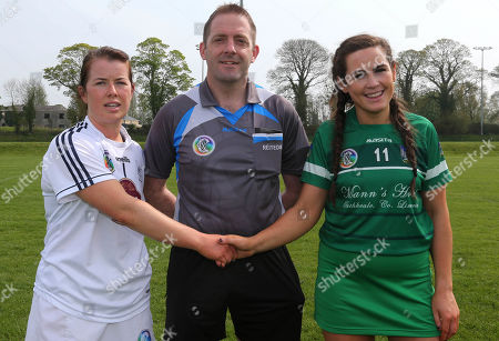 Kildare vs Limerick. Referee Barry Nae with Kildare's Tanya Johnson and Grace Lee of Limerick