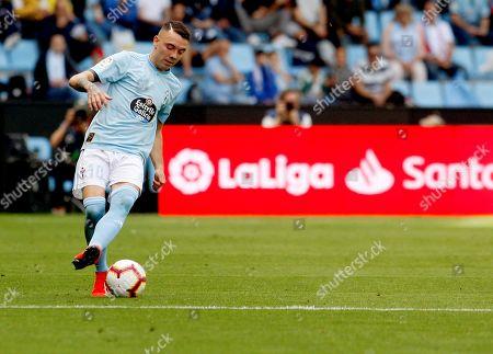 Celta de Vigo's player Iago Aspas in action during the Primera Division Liga match between Celta de Vigo and Girona FC held at Balaidos stadium in Vigo, Spain, 20 April 2019.