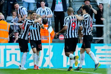 Ayoze Perez (#17) of Newcastle United celebrates Newcastle United's second goal (2-0) with Miguel Almiron (#24) of Newcastle United during the Premier League match between Newcastle United and Southampton at St. James's Park, Newcastle