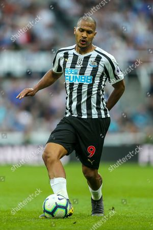 Jose Salomon Rondon (#9) of Newcastle United plays a short pass during the Premier League match between Newcastle United and Southampton at St. James's Park, Newcastle