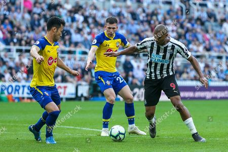 Jose Salomon Rondon (#9) of Newcastle United looks to work space to get a shot away inside the penalty area during the Premier League match between Newcastle United and Southampton at St. James's Park, Newcastle