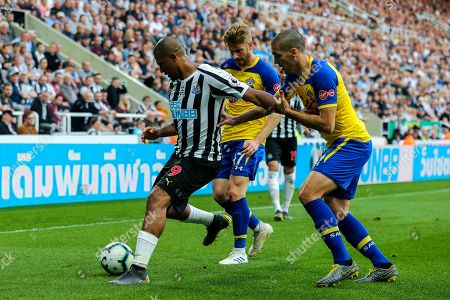 Stock Photo of Jose Salomon Rondon (#9) of Newcastle United holds off the challenge of Oriol Romeu (#14) of Southampton and Stuart Armstrong (#17) of Southampton during the Premier League match between Newcastle United and Southampton at St. James's Park, Newcastle