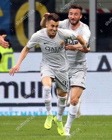 Roma's Stephan El Shaarawy  (L) jubilates with his teammate Bryan Cristante after scoring the 0-1 goal during the Italian serie A soccer match between FC Inter and AS Roma  at Giuseppe Meazza stadium in Milan, Italy, 20 April 2019.