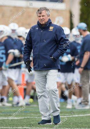 Notre Dame head coach Kevin Corrigan during NCAA lacrosse match action between the North Carolina Tar Heels and the Notre Dame Fighting Irish at Frank Eck Stadium in South Bend, Indiana. Notre Dame defeated North Carolina 12-10