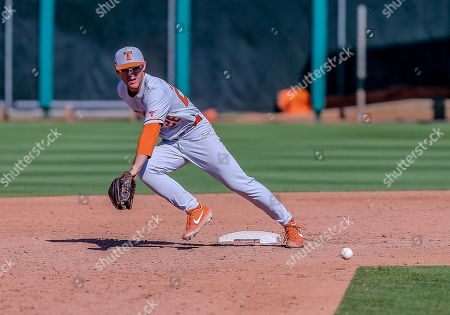 Stock Picture of University of Texas infielder Lance Ford (28) fields a ball during a baseball game between the University of Texas Longhorns and Oklahoma State Cowboys at Allie P. Reynolds Stadium in Stillwater, OK