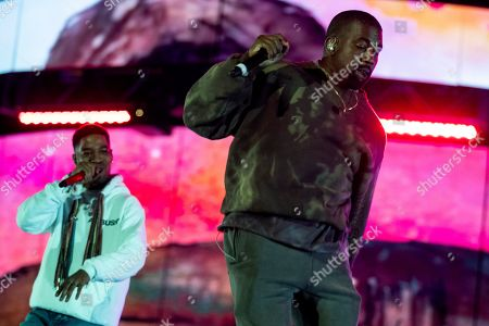 Kid Cudi (L) and Kanye West (R) perform during the Coachella Valley Music and Arts Festival in Indio near Palm Spring, California, USA, late 20 April 2019. The festival runs from 12 to 21 April 2019