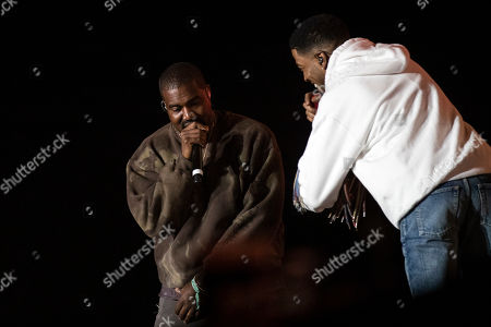 Kid Cudi (R) and Kanye West (L) perform during the Coachella Valley Music and Arts Festival in Indio near Palm Spring, California, USA, late 20 April 2019. The festival runs from 12 to 21 April 2019