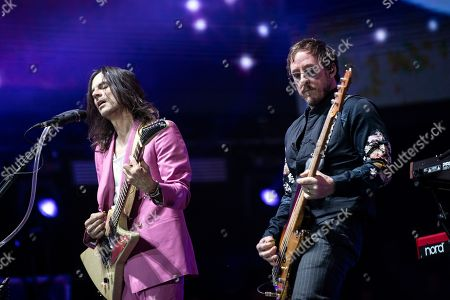 US band Weezer with guitarist Brian Bell (L) and bassist Scott Shriner (R) performs on stage during the Coachella Valley Music and Arts Festival in Indio near Palm Spring, California, USA, 20 April 2019. The festival runs from 12 to 21 April 2019.