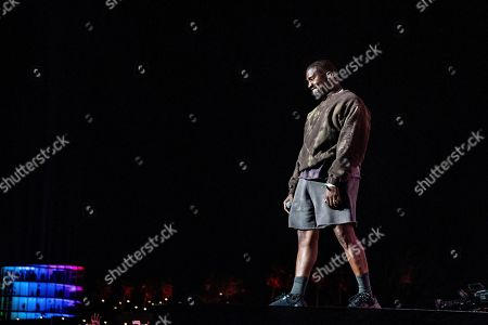 Stock Image of Kanye West performs with Kid Cudi at the Coachella Music & Arts Festival at the Empire Polo Club, in Indio, Calif