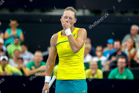Sam Stosur of Australia in action against Victoria Azarenka of Belarus during the Fed Cup tennis tournament World Group semifinal between Australia and Belarus at Pat Rafter Arena in Brisbane, Australia, 21 April 2019.