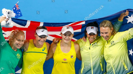 (L-R) Daria Gavrilova, Sam Stosur, Ash Barty, Priscilla Hon and Alicia Molik of Australia celebrate their win against Belarus during the doubles match forg the Fed Cup World Group semi final between Australia and Belarus at Pat Rafter Arena in Brisbane, Australia, 21 April 2019.