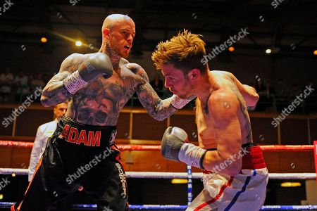 Stock Picture of Adam Bannister (black shorts) defeats Liam Richards during a Boxing Show at the Riviera International Conference Centre on 20th April 2019