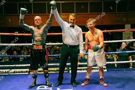 Adam Bannister (black shorts) defeats Liam Richards during a Boxing Show at the Riviera International Conference Centre on 20th April 2019