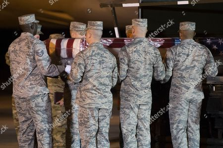 Body Staff Sgt Albert Miller returned home Stock Photos