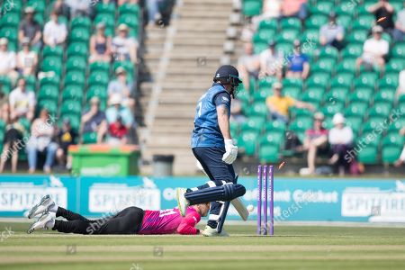 Darren Stevens is run out by Danny Briggs during Kent Spitfires vs Sussex Sharks, Royal London One-Day Cup Cricket at The Kent County Cricket Ground, Beckenham on 21st April 2019