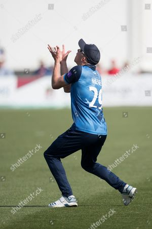 Matt Milnes of Kent CCC underneath a skier from Luke Wright during Kent Spitfires vs Sussex Sharks, Royal London One-Day Cup Cricket at The Kent County Cricket Ground, Beckenham on 21st April 2019