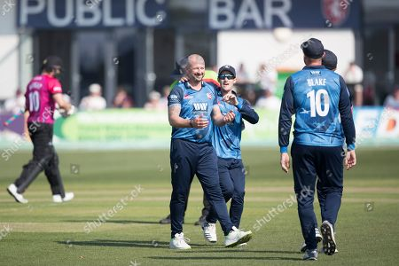 Darren Stevens of Kent CCC first delivery accounted for Luke Wright during Kent Spitfires vs Sussex Sharks, Royal London One-Day Cup Cricket at The Kent County Cricket Ground, Beckenham on 21st April 2019