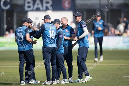 The Kent players celebrate the wicket of Luke Wright who skied Darren Stevens of Kent CCC first delivery to wide deep  mid off during Kent Spitfires vs Sussex Sharks, Royal London One-Day Cup Cricket at The Kent County Cricket Ground, Beckenham on 21st April 2019