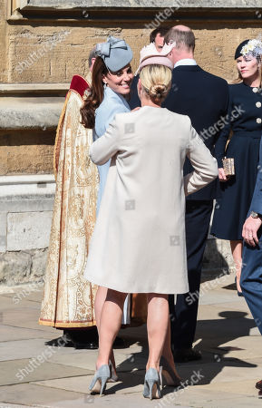 Zara Tindall greets Catherine Duchess of Cambridge