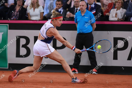 Pauline Parmentier of France in action during her game against Irina-Camelia Begu of Romania during the Fed Cup World Group, Semi Final between France and Romania, in Rouen, France, 21 April 2019.